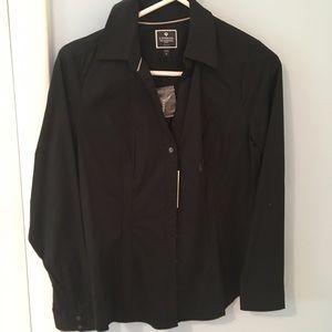 Express essential black button down shirt